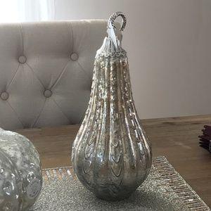 "15"" Silver Gold Mercury Glass Gourd Pumpkin Metal"